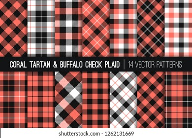 Coral, White and Black Tartan and Buffalo Check Plaid Vector Patterns. 2019 Color of the Year. Flannel Shirt Textures. Hipster Fashion. Checkered Background. Pattern Tile Swatches Incl