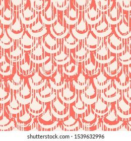 Coral and White tie dye seamless pattern.  Shibori seamless print. Watercolor hand drawn batik.  Handmade watercolour shirt tie dye pattern. Japan traditional tile. Terracotta and Beige shibori.
