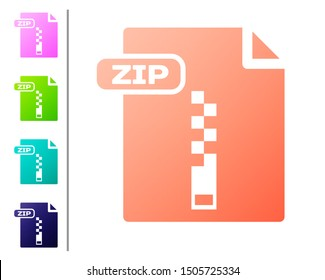 Coral ZIP file document. Download zip button icon isolated on white background. ZIP file symbol. Set color icons. Vector Illustration