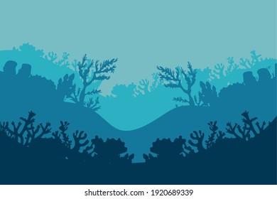 corals and algaes silhouettes nature scene vector illustration design