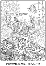 Corals, fish and sea shells on bottom composition. Vector illustration. Coloring book for adult and older children. Outline drawing coloring page.