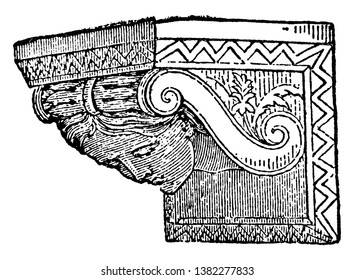 Corbel is a piece of stone jutting out of a wall, classical tradition, upper or inner part larger than the lower, vintage line drawing or engraving illustration.
