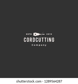 cordcutting logo hipster tv cable vector icon illustration