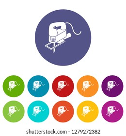 Corded jig saw icons color set vector for any web design on white background