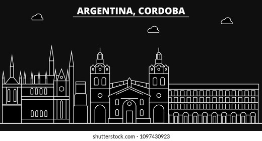 Cordoba silhouette skyline. Argentina - Cordoba vector city, argentinian linear architecture, buildings. Cordoba line travel illustration, landmarks. Argentina flat icon, argentinian outline design