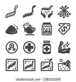 cordyceps icon set,vector and illustration