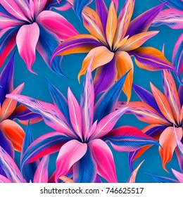 Cordyline fruticosa seamless pattern of tropical flowers