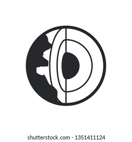 core of the earth flat fector icon