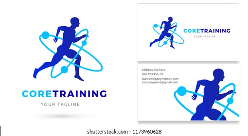 Core Training, Man running silhouette Logo & Business card, Personal Trainer, Gym, Fitness studio