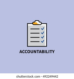Core value icon : accountability icon in line flat style