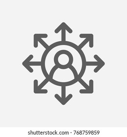 Core values: accountability icon multitasking line symbol isolated vector illustration on core values multitasking sign accountability icon concept of company core values for your app logo design