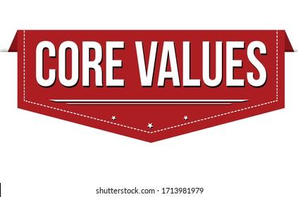 Core values banner design on white background, vector illustration