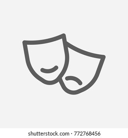 Core values: culture icon mask line symbol. Isolated vector illustration on company values theater sign culture icon concept of company core values for your web site mobile app logo UI design.