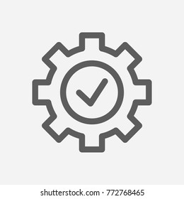 Core values: expertise icon gear check line symbol. Isolated vector illustration on company values check sign expertise icon concept of company core values for your web site mobile app logo UI design.
