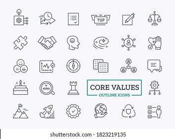 Core values icon set with outline symbol of loyalty, optimism, efficiency, honesty for company website
