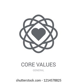 core values icon. Trendy core values logo concept on white background from General collection. Suitable for use on web apps, mobile apps and print media.