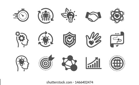 Core values icons. Integrity, Target purpose and Strategy. Helping hand, social responsibility, commitment goal icons. Classic set. Quality set. Vector