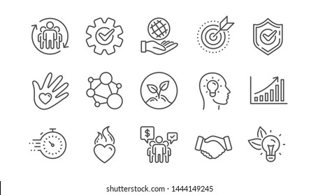 Core values line icons. Integrity, Target purpose and Strategy. Trust handshake, social responsibility, commitment goal icons. Linear set. Vector