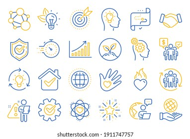Core values line icons. Integrity, Target purpose and Strategy. Trust handshake, social responsibility, commitment goal icons. Growth chart, innovation, core values network. Line icon set. Vector