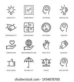 Core values line icons set. Ethics linear style symbols collection, outline signs pack. vector graphics. Set includes icons as responsibility, word passion, goal, growth, strategy, trust, teamwork
