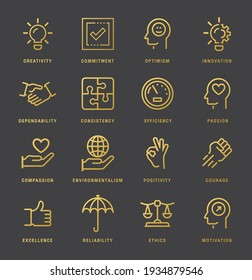 Core values line icons set. gold color Ethics linear style symbols collection, outline. vector graphics. Set includes icons as responsibility, word passion, goal, growth, strategy, trust, teamwork