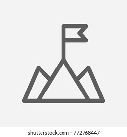 Core values: mission icon flag line symbol. Isolated vector illustration on company values mountain sign mission icon concept of company core values for your web site mobile app logo UI design.