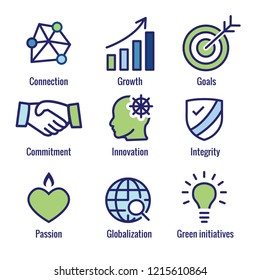 Core Values Outline or Line Icon Conveying Integrity & Purpose