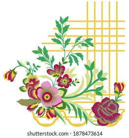 coreldraw drawing and sketch flower. stock vector abstract flower and wave, doodle bouquet. oriental or arabic, russia art background. template for card. banner