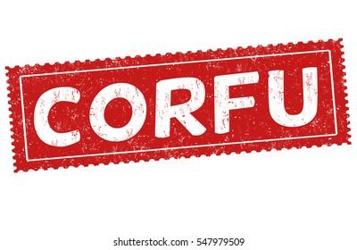 Corfu grunge rubber stamp on white background, vector illustration