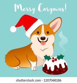 "Corgi dog in Christmas Santa hat with fruitcake vector cartoon illustration isolated of aqua, caption ""Merry Corgmas"". Funny humorous pet lovers, Christmas theme flat contemporary style design element"