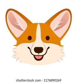 Corgi dog cute cartoon vector portrait.  Pembroke Welsh corgi puppy dog face, smiling with tongue out isolated on white. Pets, canine, dog lovers theme design element, flat contemporary style.
