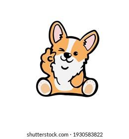 Corgi dog Cute welsh corgi vector cartoon illustration isolated on white background. Funny corgi butt modern flat design element for badges, labels, cards