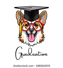 Corgi dog Graduate. Smart glasses. Graduations hat cap. Smart dog. Vector illustration.