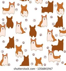 Corgi dog pattern. Vector illustration of funny corgi dog