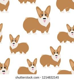 Corgi dog seamless pattern.Endless texture,cute dogs on white bacground,Corgi dogs pattern,vector with Welsh Corgi Cardigan
