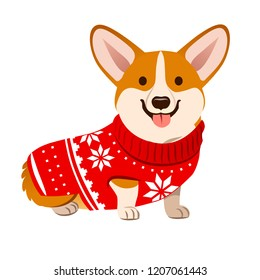 Corgi dog wearing a Christmas red sweater with Nordic snowflake pattern vector cartoon illustration isolated on white. Funny humorous Christmas, pet lover, pet clothes theme design element.