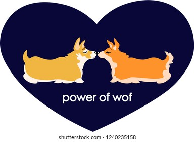 Corgi dogs in big heart are kissing power of love cloth print card design cartoon funny cute idea for gift valentine's day vector illustration joke text