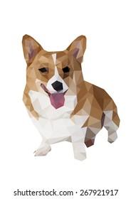 Corgi polygon dog