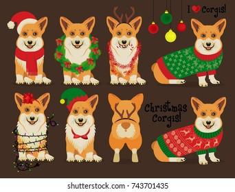 Corgis Dog Christmas Set. Vector Illustration.