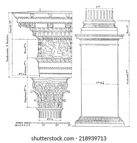 Corinthian order, vintage engraved illustration. Dictionary of words and things - Larive and Fleury - 1895.