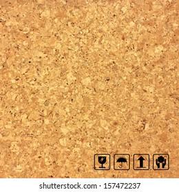 Cork board texture background and fragile symbol - Vector illustration