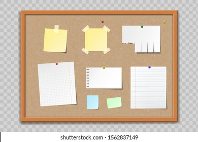 Cork bulletin board texture with wooden frame. Blank template paper sheets and stickers. Isolated on a transparent background. Vector illustration