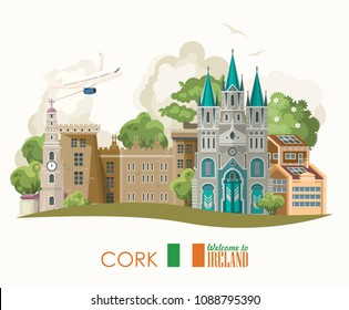 Cork city. Ireland vector illustration with landmarks and irish castle. Colorful travel template.