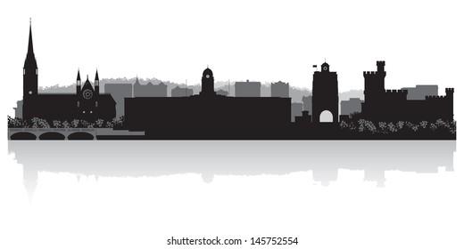 Cork city skyline silhouette vector illustration