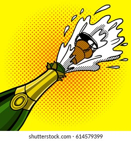 Cork flies out of a bottle of champagne pop art hand drawn vector illustration.