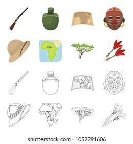 Cork hat, darts, savannah tree, territory map. African safari set collection icons in cartoon,outline style vector symbol stock illustration web.