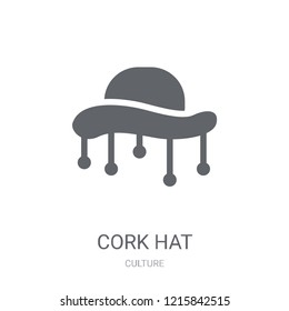 Cork hat icon. Trendy Cork hat logo concept on white background from Culture collection. Suitable for use on web apps, mobile apps and print media.