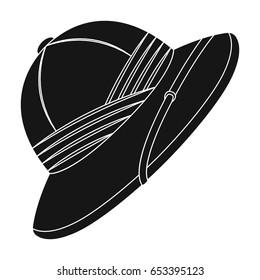 Cork hat from the sun.African safari single icon in black style vector symbol stock illustration web.
