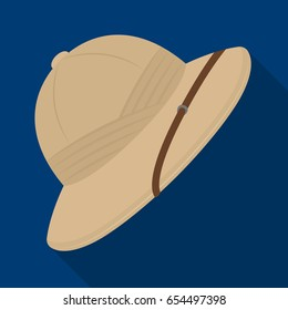 Cork hat from the sun.African safari single icon in flat style vector symbol stock illustration web.