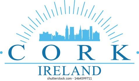 Cork Ireland City. Banner Design. City Skyline. Silhouette Vector. Famous Monuments.